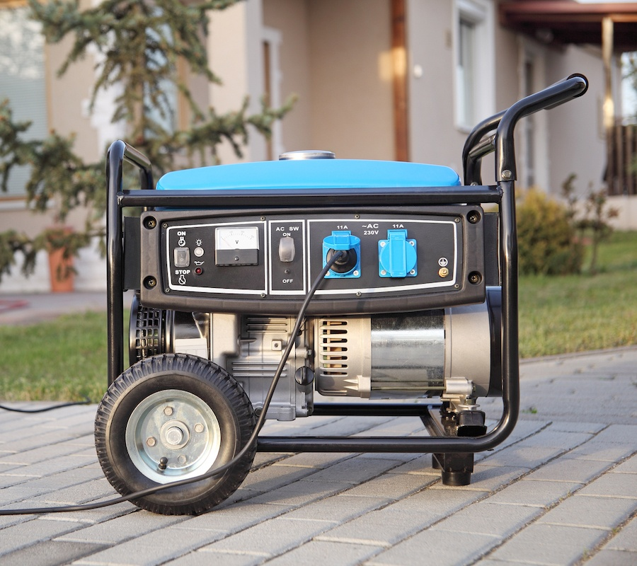 Blue Portable Generator with wheels